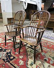 TWO YEW AND ELM WINDSOR ARMCHAIRS, English, first