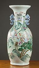 FAMILLE ROSE CHINESE PORCELAIN VASE, late Qing bal