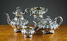 KING GEORGE III STERLING SILVER REPOUSSE COFFEE  A