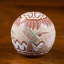 SGRAFFITO POTTERY SPHERE by Gregory Lonewolf title