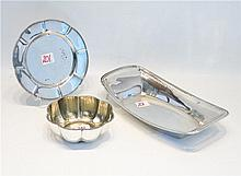 THREE STERLING SILVER HOLLOWWARE PIECES: 1 oblong