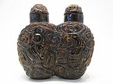 AGATE CARVED DOUBLE CHAMBER SNUFF BOTTLE with phoe