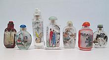 SEVEN CHINESE REVERSE PAINTED GLASS SNUFF BOTTLES,