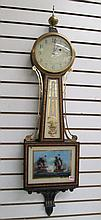 TWO AMERICAN ONE-WEIGHT BANJO WALL CLOCKS:  E. How
