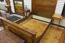 VICTORIAN WALNUT AND BURL WALNUT BED WITH RAILS, A