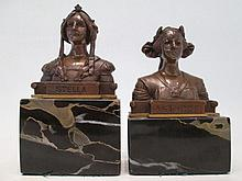 TWO METAL BUSTS STELLA AND ESTARTE, the two small