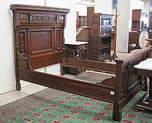 VICTORIAN CARVED WALNUT AND BURL WALNUT BED WITH R