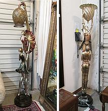 TWO FIGURAL FLOOR LAMPS, each featuring two dancer