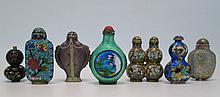 SEVEN CHINESE SNUFF BOTTLES, six are cloisonne', t