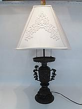 CHINESE BRONZE URN-FORM TABLE LAMP with two-light