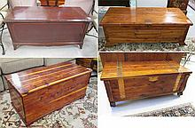FOUR LIFT-TOP CEDAR BLANKET CHESTS:  unmarked soli