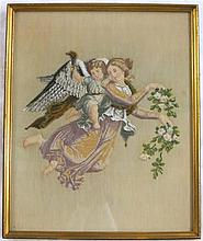FRAMED VICTORIAN BEADED AND EMBROIDERED ANGEL depi