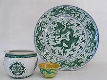 THREE CHINESE GREEN DRAGON PORCELAINS:  1) 4