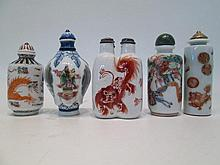 FIVE CHINESE PORCELAIN SNUFF BOTTLES in various fo