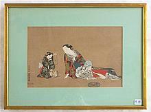 AFTER OKUMURA MASANOBU, COLOR WOODCUT (Japan, 1686