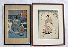 TWO JAPANESE WOODCUTS:  Utagawa Kunisada (1786-186