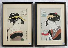 AFTER KITAGAWA UTAMARO, TWO WOODCUTS (Japan, circa