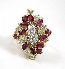 RUBY, DIAMOND AND FOURTEEN KARAT GOLD RING, set  w