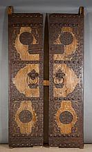 LARGE PAIR OF WOOD AND FORGED IRON PALACE DOORS, C