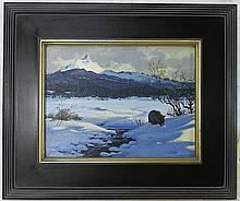 J. LAMB OIL ON CANVAS of a bear in a snowy landsca
