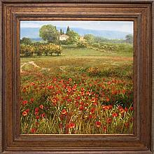 K. GOAMS OIL ON CANVAS, wild flowers with French v