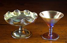 TWO TIFFANY IRIDESCENT ART GLASS VESSELS, each of