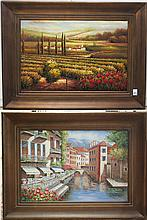 TWO LARGE OILS ON CANVAS, Italian landscapes, 20th