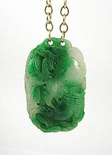 CHINESE CARVED JADE PENDANT NECKLACE, with a cable