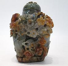 CHINESE CARVED JADE SNUFF BOTTLE with relief bird