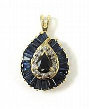 SAPPHIRE AND FOURTEEN KARAT GOLD PENDANT, set with