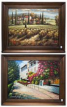 TWO LARGE OIL ON CANVAS LANDSCAPES, a European vil