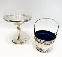 TWO STERLING SILVER HOLLOWWARE WITH GLASS LINERS: