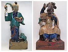 TWO POLYCHROME GLAZED POTTERY ROOF FIGURES, Chines