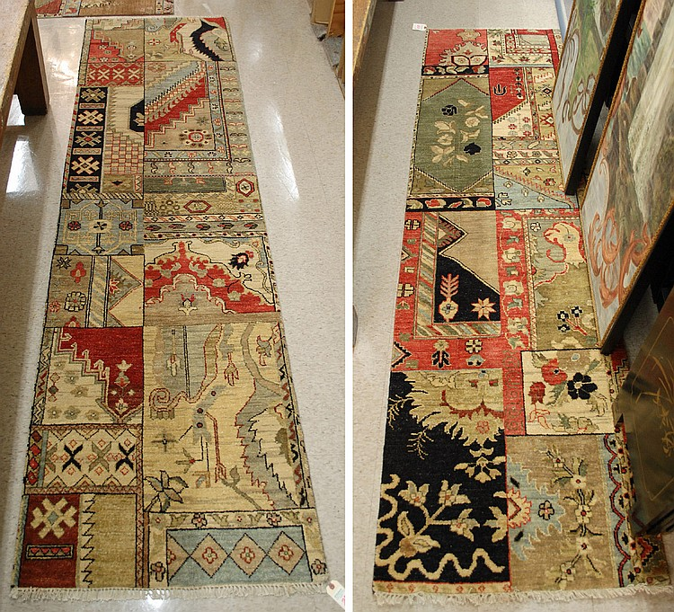 A PAIR OF HAND KNOTTED ORIENTAL RUNNERS, similar