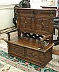 CARVED OAK SETTLE WITH LIFT SEAT, English, 19th