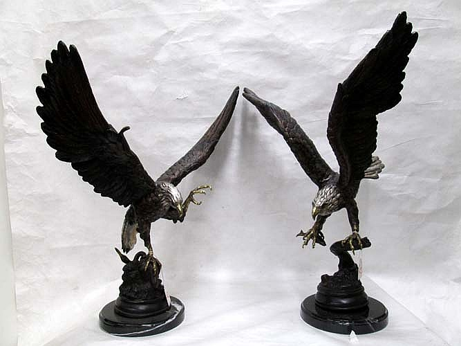 TWO POLYCHROME BRONZE WILDLIFE EAGLE SCULPTURES,