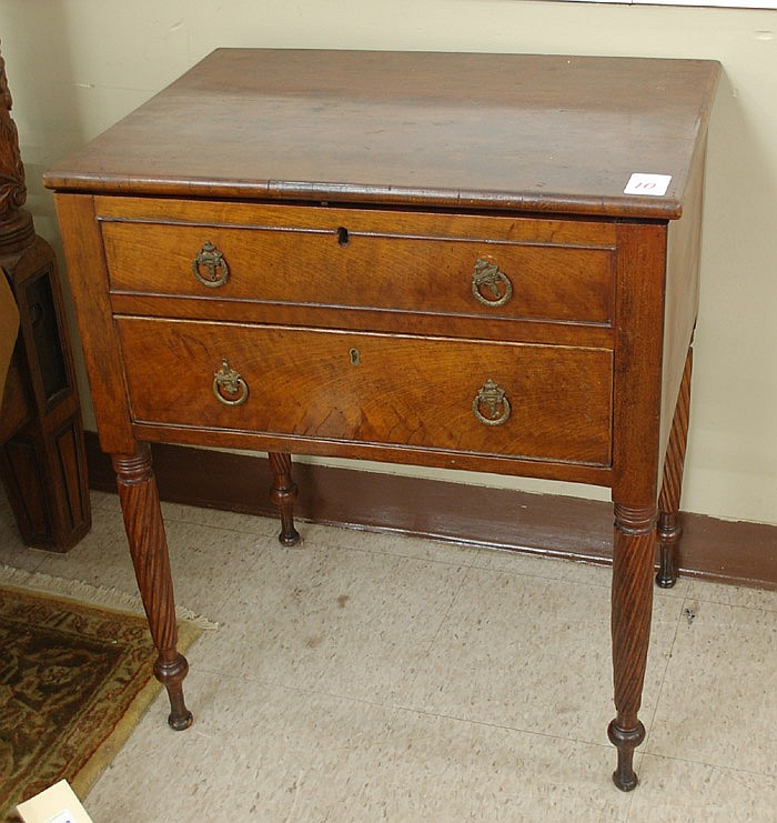 MAHOGANY LIFT-TOP WORK TABLE, American, c.
