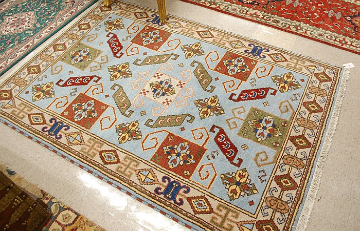 HAND KNOTTED ORIENTAL AREA RUG, Indo-Kazak tribal,