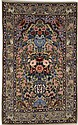 PERSIAN SILK AND WOOL TABRIZ WALL RUG, very finely