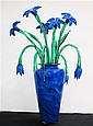 GLASS FLOOR VASE AND FLOWERS: blue glass vase,