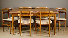 DANISH MID CENTURY MODERN TEAK DINING TABLE AND  C