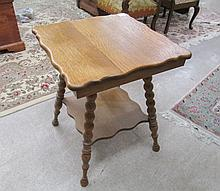 LATE VICTORIAN SQUARE OAK LAMP TABLE, American, c.