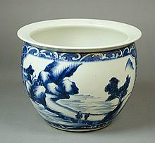 CHINESE PORCELAIN BLUE AND WHITE JARDINIERE, hand