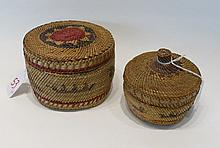 TWO NORTHWEST NATIVE AMERICAN COVERED BASKETS, att