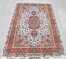 EXTRA FINE PERSIAN TABRIZ SILK AND WOOL AREA RUG,