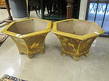 PAIR OF HEXAGONAL GLAZED POTTERY PLANTERS, Chinese