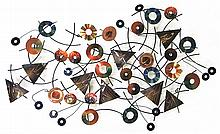 CURTIS JERE STEEL AND BRASS WALL SCULPTURE (Americ