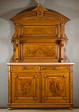 VICTORIAN WALNUT AND BURL WALNUT SIDEBOARD, Americ