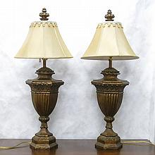 PAIR OF CLASSICAL REVIVAL TABLE LAMPS with gilt  u
