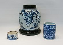 THREE CHINESE BLUE AND WHITE PORCELAIN VESSELS:  1